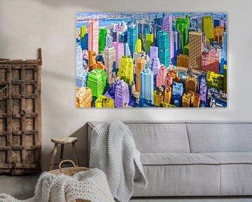 New York Manhattan Skyline mit bunten Wolkenkratzern im Pop Art Stil von Herbert Blum