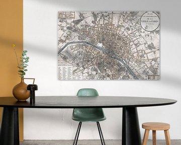 Alte Landkarte Von Paris von Andrea Haase
