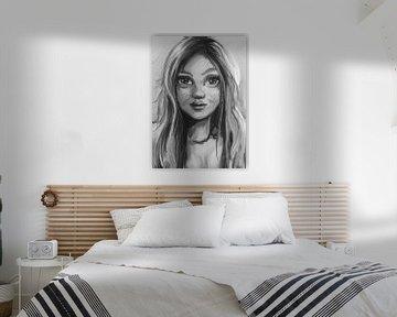 Schönes Gemälde in Grautönen von einer jungen Dame. Porträt im Stil der Ölmalerei. von Emiel de Lange