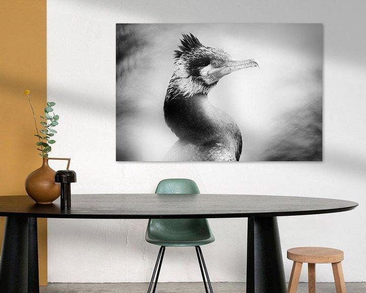 Sfeerimpressie: Portret van een aalscholver (close-up, zwart-wit) van Fotografie Jeronimo