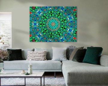 Mandala in Petrol (Flower Power & Retro) van Caroline Lichthart