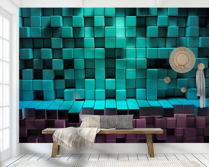 Beispiel fototapete: Abstrakter Hintergund bunter Würfel von Jonas Weinitschke
