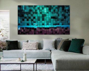 Abstracte achtergrond kleurrijke kubus van Jonas Weinitschke