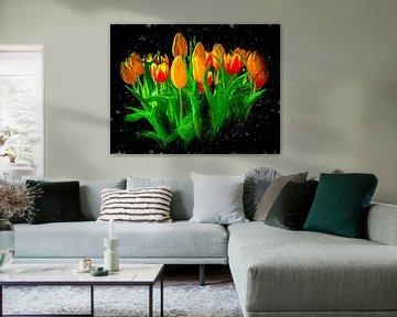 Ein Strauß Tulpen.