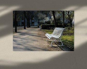 weiße Bank aus Holz an einem Wanderweg von Heiko Kueverling