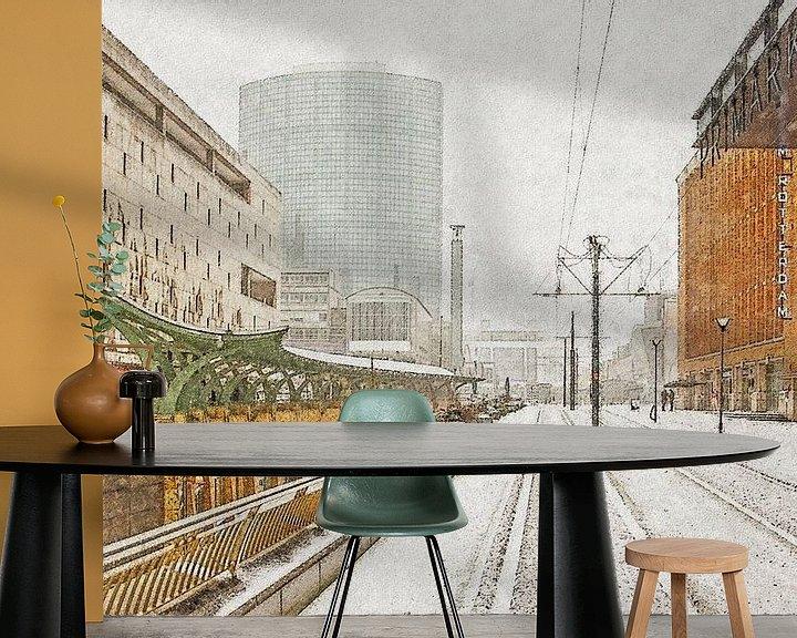 Sfeerimpressie behang: Winterbeeld Koopgoot van Frans Blok