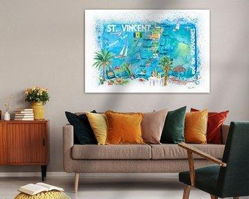 St. Vincent Grenadinen Antillen Illustrierte Reisekarte mit Straßen und Highlights von Markus Bleichner