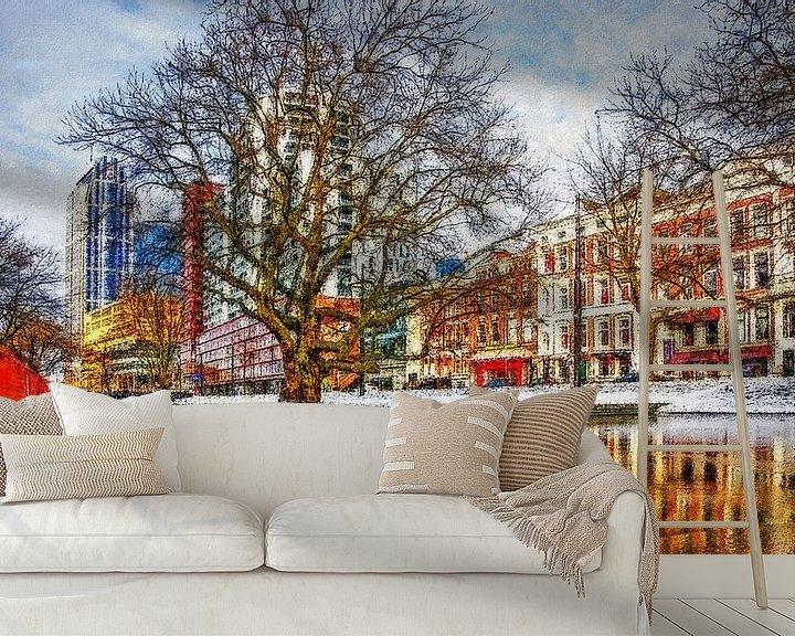 Sfeerimpressie behang: Winterbeeld Westersingel van Frans Blok