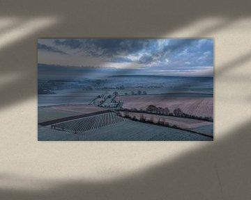 Luchtfoto van Epen tijdens het blauwe uurtje van John Kreukniet