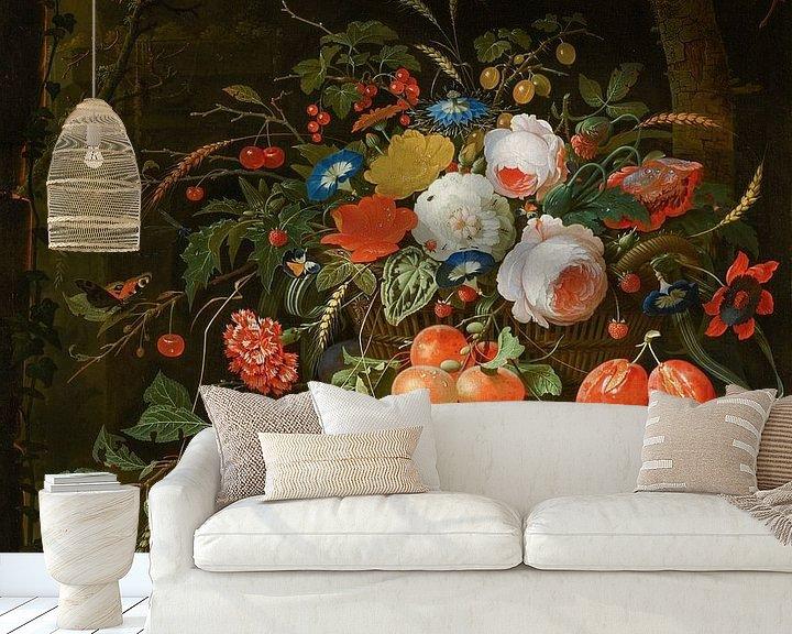 Beispiel fototapete: Blumen und Früchte, Abraham Mignon