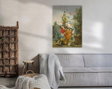 Eine Vase mit Pfingstrosen, Chrysanthemen und einer Nelke mit exotischen Früchten in einem Garten, J