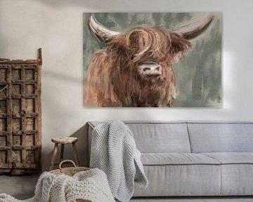 Ölgemälde eines schottischen Hochländers - cooles Landgemälde einer rothaarigen Kuh von Emiel de Lange