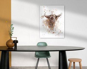 Abstraktes und zeitgenössisches Kunstwerk eines schottischen Highlanders. Aquarell und Tinte auf wei von Emiel de Lange