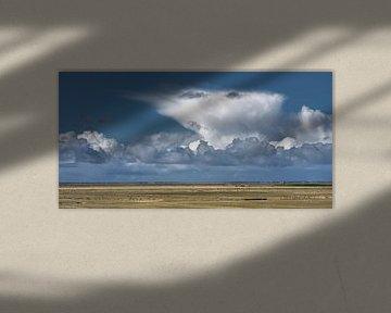 Wolkenlucht boven het Wad vanaf de Noorderleegdijk van Harrie Muis