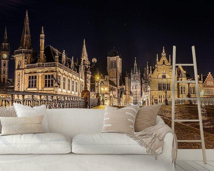 Sfeerimpressie behang: Gent by night van Jim De Sitter