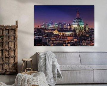 Nächtliche Skyline von Paris von Michael Abid