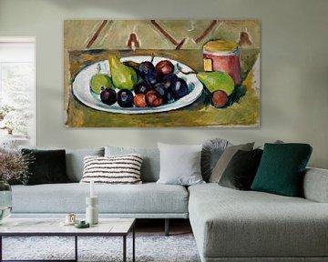 Teller mit Obst und Topf mit Marmelade, Paul Cézanne (ca. 1880-1881)
