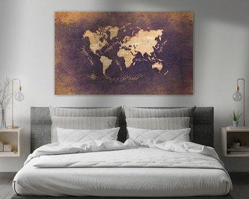 Weltkarte braun gold #Karte von JBJart Justyna Jaszke
