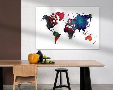 Weltkarte blau rot grün #Karte von JBJart Justyna Jaszke