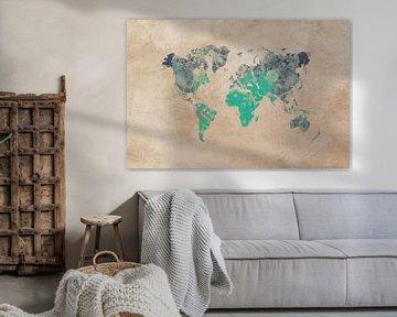 Weltkarte grün-beige #Karte von JBJart Justyna Jaszke