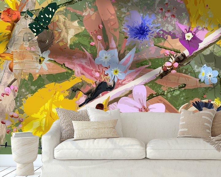 Impression: Nature morte avec des fleurs et des animaux près d'une branche sur Susan Hol