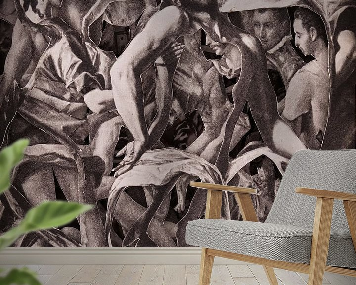 Beispiel fototapete: Collage in Sepia - Jesus nach der Kreuzigung aus Gemälden des Altmeisters El Greco von Oscarving 3-P von Oscarving