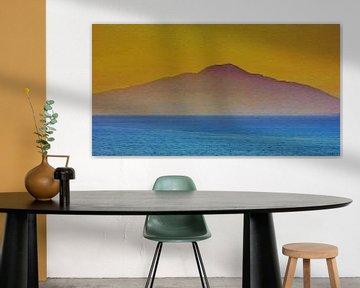 Le volcan au crépuscule - Vésuve - Italie - Golfe de Naples - Peinture