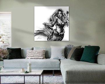 Ölgemälde einer Meerjungfrau. Artwork in Schwarz-Weiß und Grautönen. von Emiel de Lange