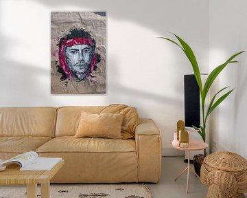 Porträt eines Mannes mit rotem Kopftuch von jolanda verduin