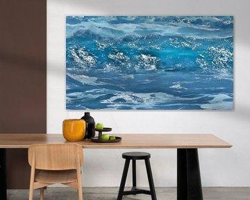 De Zon in de Turquoise Golf - Zee - Water - Schilderij