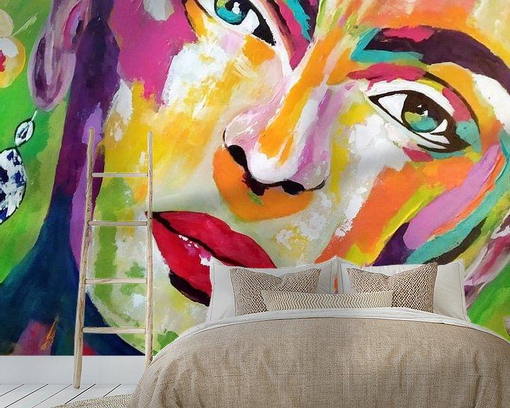 """Beispiel fototapete: Frida Kahlo """"Gesicht"""" von Kathleen Artist Fine Art"""