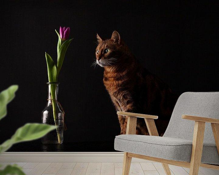Beispiel fototapete: Katze mit Blume von Special Moments MvL
