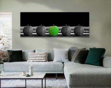 Appels groen en zwart wit van Gertjan Hesselink