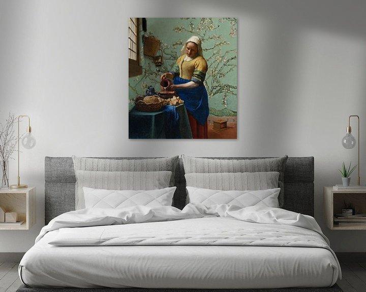 Impression: Papier peint La laitière aux fleurs d'amandier (vert mousse) - Vincent van Gogh - Johannes Vermeer sur Lia Morcus