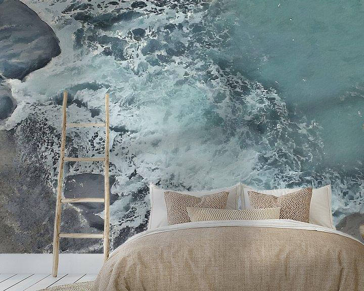 Beispiel fototapete: Strand mit Felsen und schäumender Welle - Gemälde von Schildersatelier van der Ven