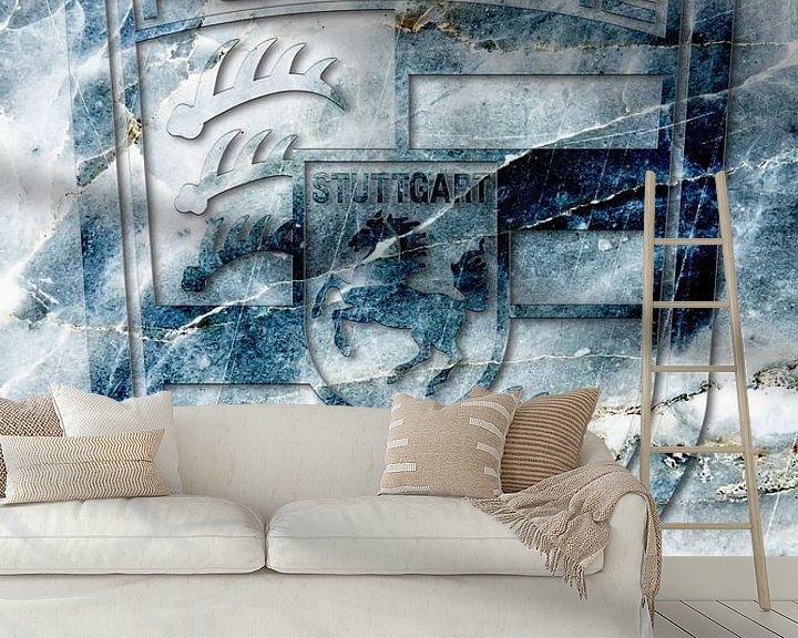 Sfeerimpressie behang: Porsche logo op blauw marmer van 2BHAPPY4EVER.com photography & digital art