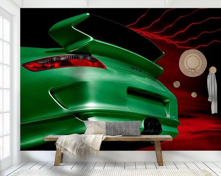 Sfeerimpressie behang: Porsche 911 GT3 Type 997 in het groen van aRi F. Huber
