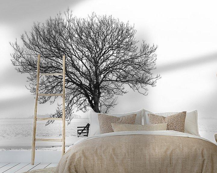 Beispiel fototapete: Baum in Winterlandschaft von Beeldbank Alblasserwaard