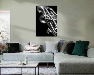 Alte Vintage Jazz Brass Trompete Musik Liebhaber Schwarz Weiß Reflexion von Andreea Eva Herczegh
