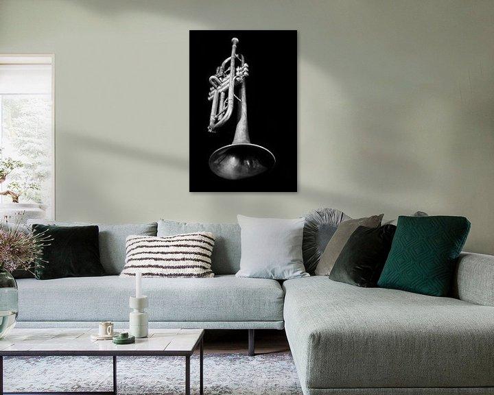 Beispiel: Alte Vintage Jazz Brass Trompete Musik Liebhaber Schwarz Weiß von Andreea Eva Herczegh