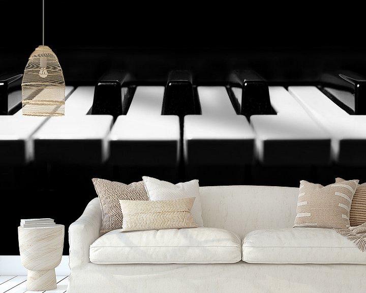 Beispiel fototapete: Klaviertastatur in minimalem Schwarz und Weiß Nahaufnahme Detail von Andreea Eva Herczegh
