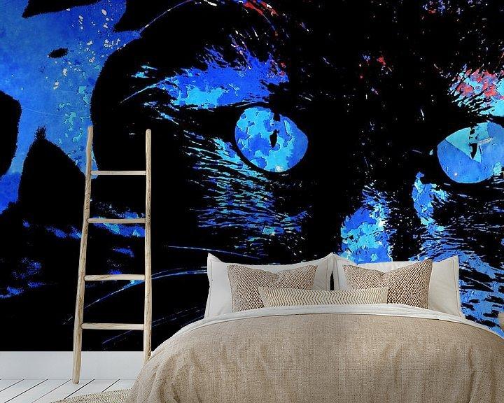 Sfeerimpressie behang: Kattenkunst - Storm 3 van MoArt (Maurice Heuts)