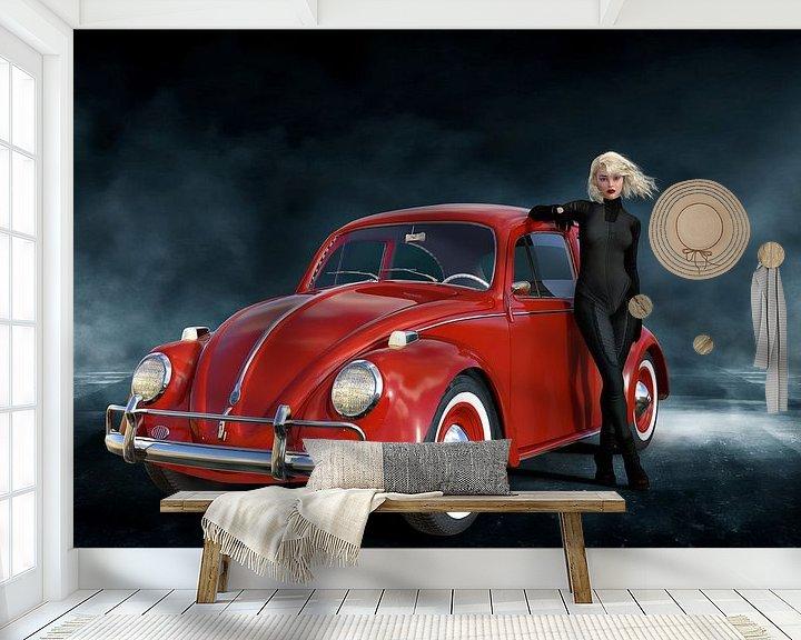 Sfeerimpressie behang: Lady with Ladybird Car - Beetle red van ellenilli .