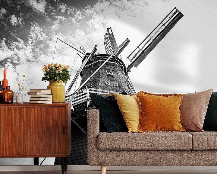 Beispiel fototapete: Authentische friesische Windmühle | Schwarz-Weiß-Foto von Diana van Neck Photography