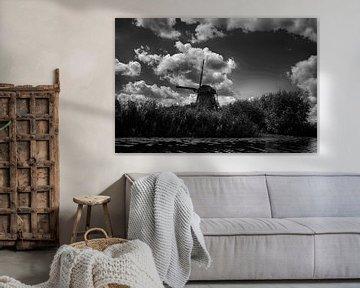 Mühle bei Kinderdijk in schwarz-weiß von FotoGraaG Hanneke