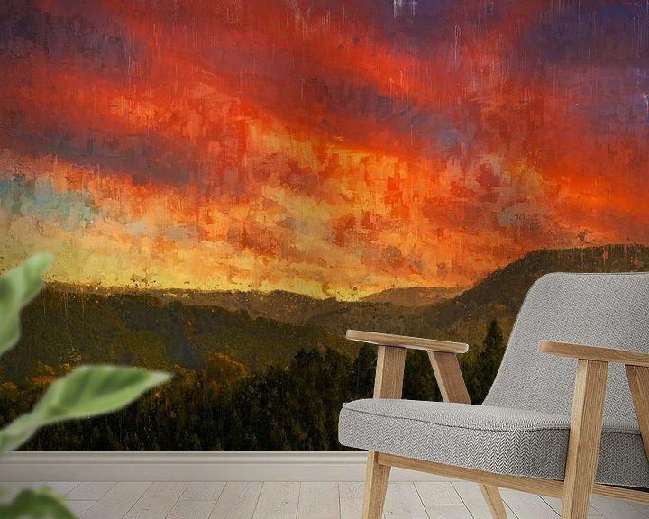 Beispiel fototapete: Gemalter Sonnenuntergang über den Hügeln von Luxemburg von Arjen Roos