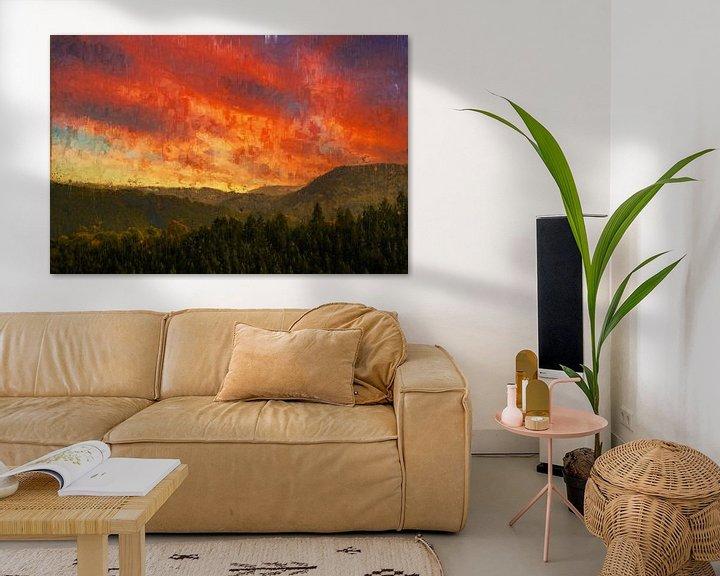 Beispiel: Gemalter Sonnenuntergang über den Hügeln von Luxemburg von Arjen Roos
