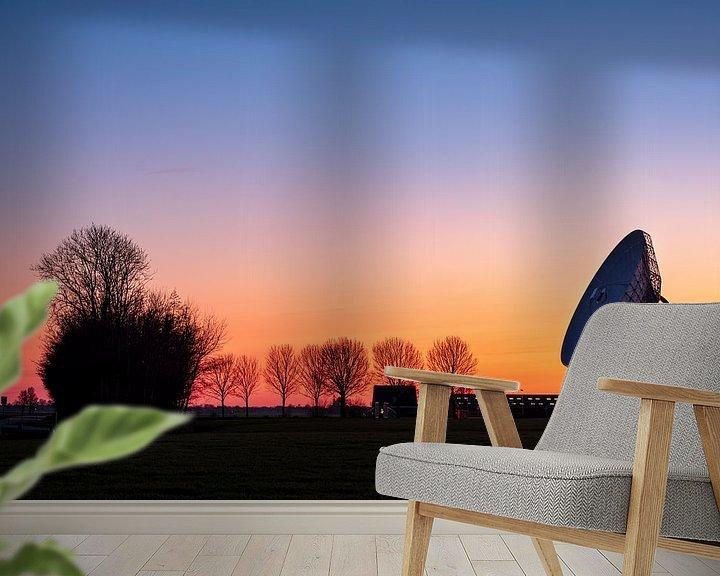 Beispiel fototapete: Sonnenuntergang an der großen Ähre in Burum, Friesland von Evert Jan Luchies