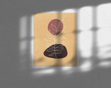 Minimalistisch landschap in herfstkleuren met een plant en een zon