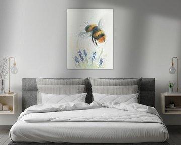 Hummel und Lavendel handgemaltes Aquarell von Yvette Stevens